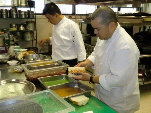 Assembling the sandwiches with guest Chef James Sanchez.