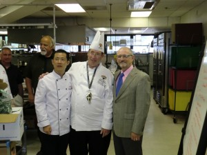 Dr. Al Davis, Dean of University College, came by for a lunch visit and took pictures with the chefs.
