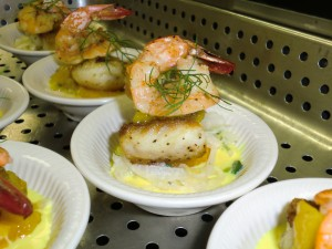Crispy Pan Seared Florida Snapper with Passion Fruit Cream with Florida Gulf Shrimp and Green Mango Jam