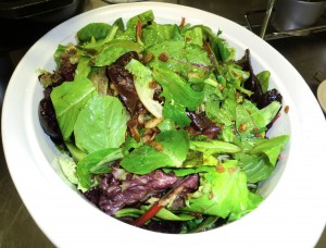 Potherb Salad with Hot Ramp Vinaigrette