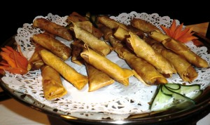 Crispy Fried Vegetarian Spring Rolls (2nd stand-bottom plate)