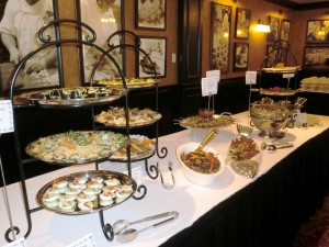 Appetizers at farewell dinner buffet